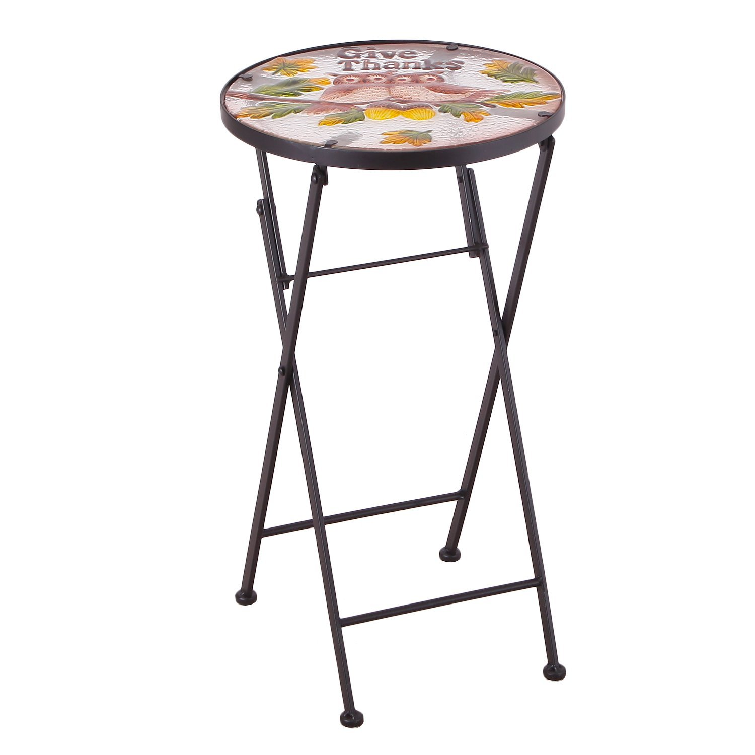 homebeez outdoor indoor foldable plant stand top round folding accent table side end for couple owes garden reclaimed wood trestle dining hollywood glam furniture dinner placemats