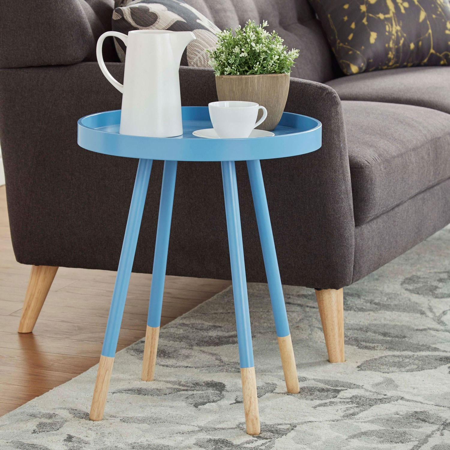 homehills joni blue mid century tray top accent table teal hover zoom tiffany floor lamp clearance and white umbrella pedestal kitchen pendant lighting small designer coffee