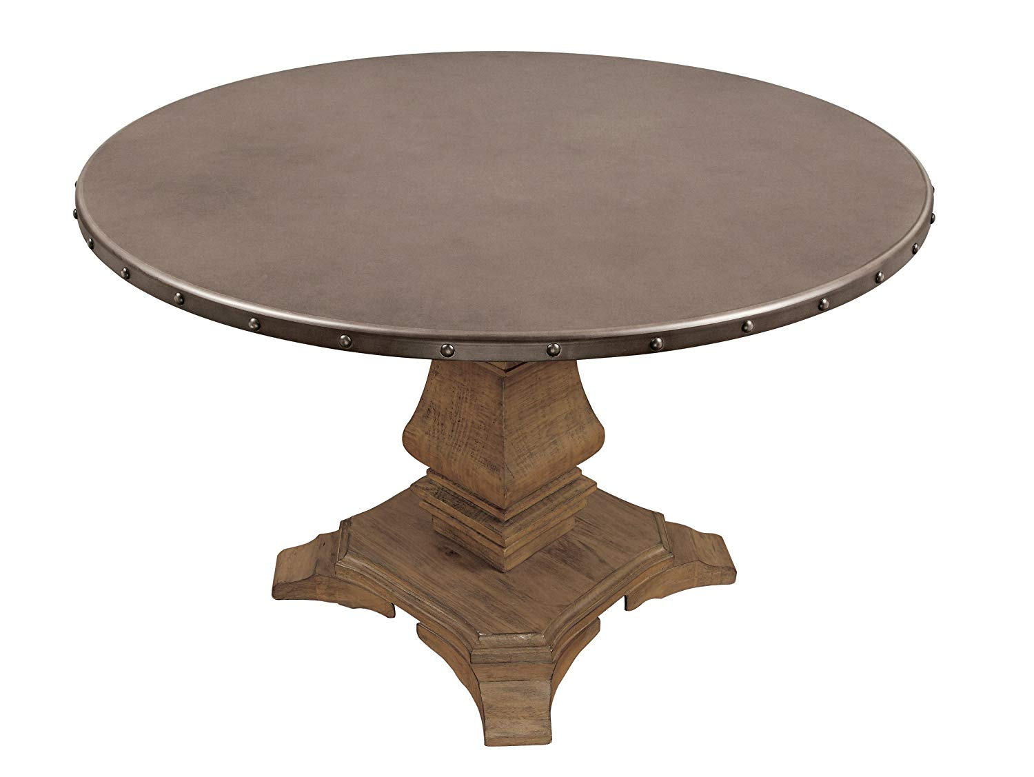 homelegance anna claire round table with pedestal base orf zinc accent and nail head banding rusticated top kitchen dining marine style lighting nautical lamps fire pit chairs