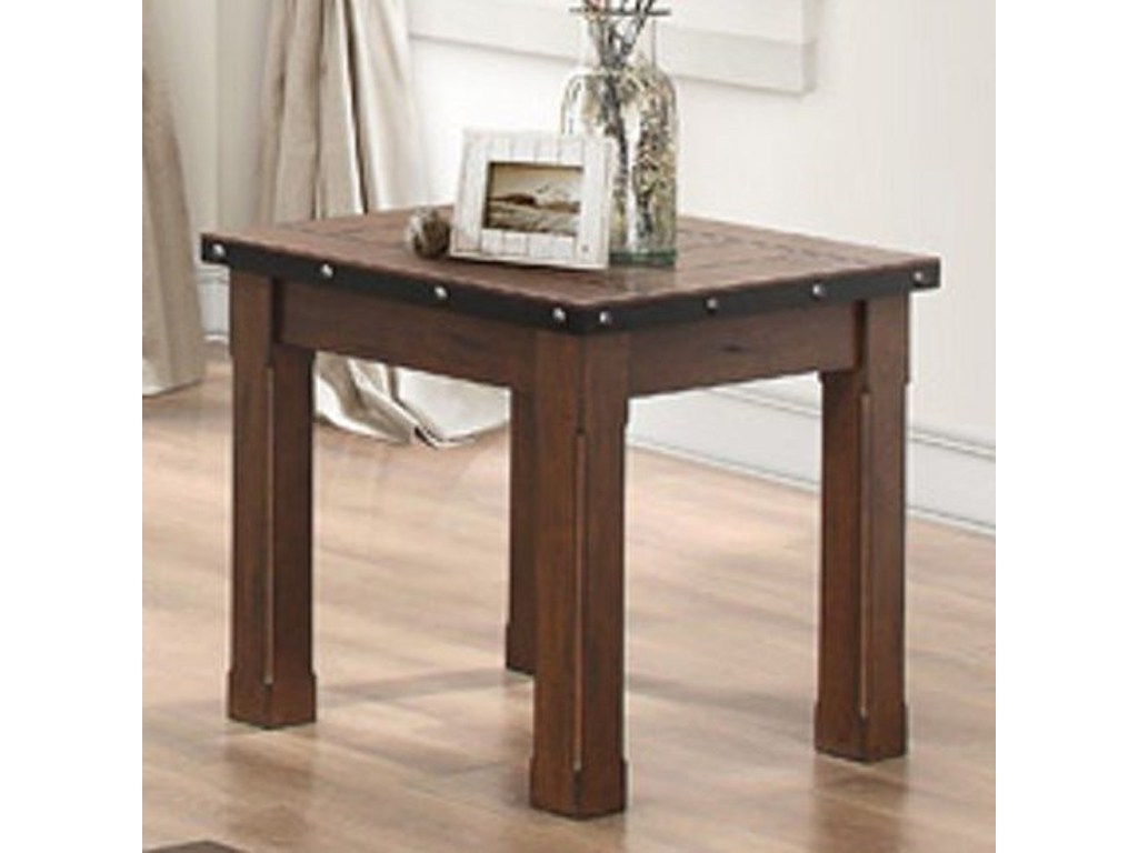 homelegance schleiger industrial end table with metal band and products color small rectangular accent schleigerend chestnut coffee world market side vintage wood tables office