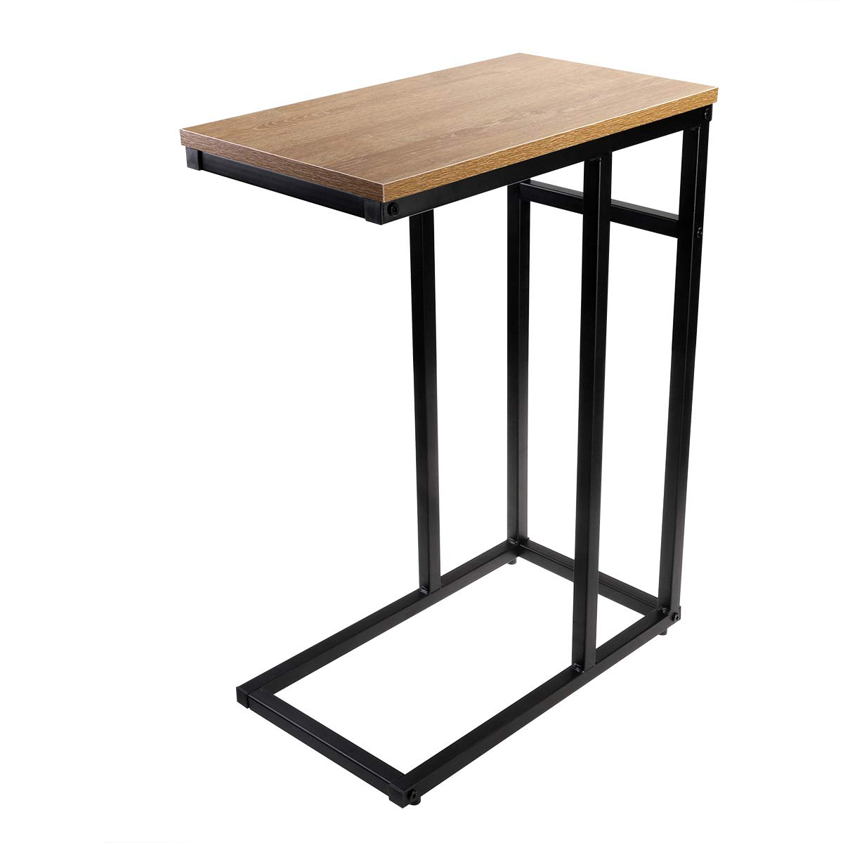 homemaxs sofa side end table small snack accent with wood finish and steel construction for coffee tablet home kitchen half circle console glass top patio dining corner accents
