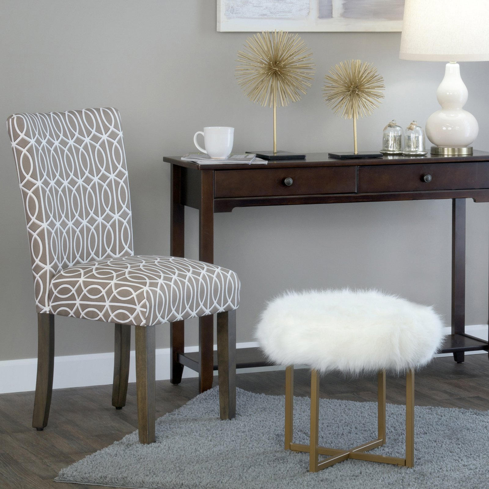 homepop faux fur round stool decorative living room accent chair metal table white pottery barn cole task lamp mini storage trunk coffee patio cover waterproof furniture narrow