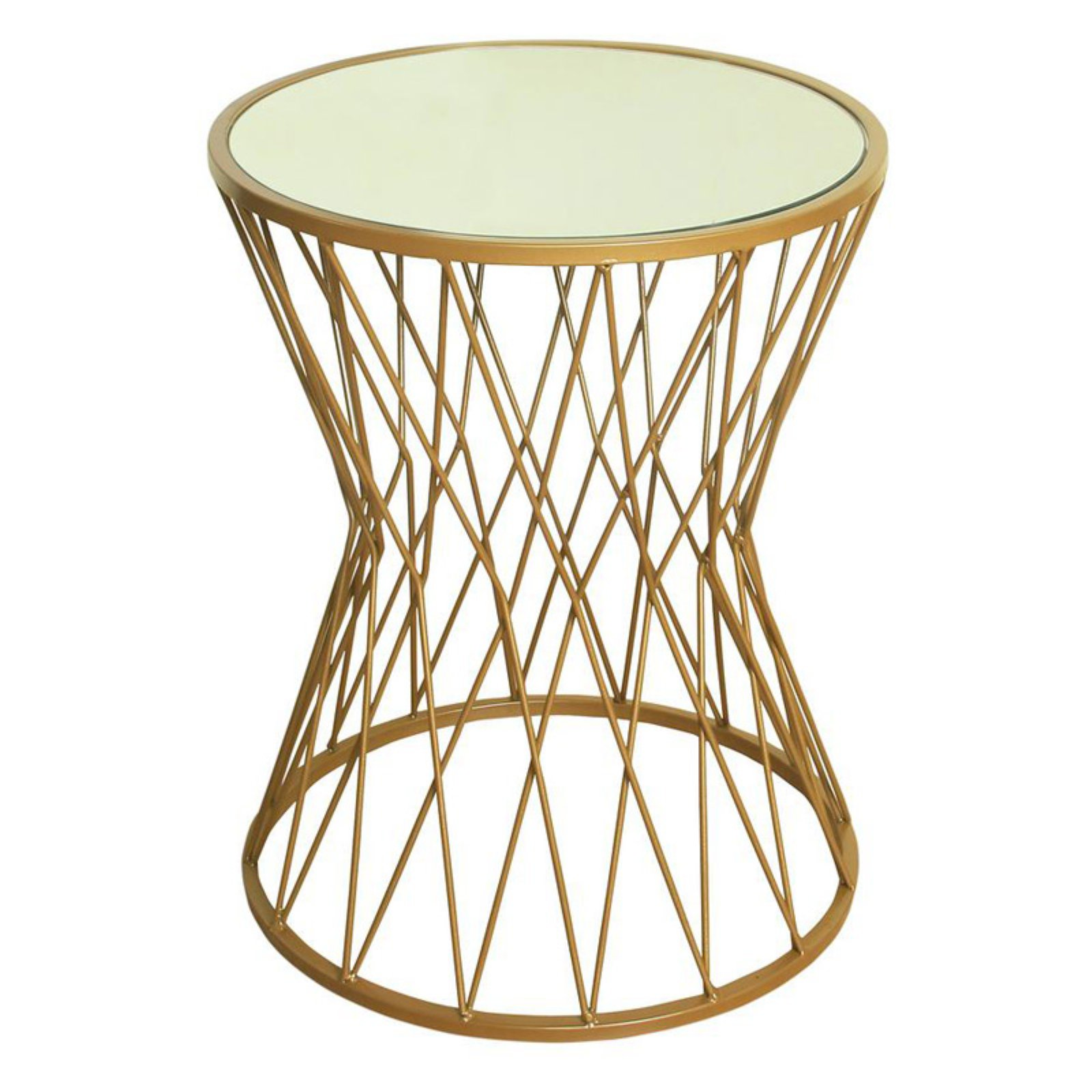 homepop hourglass metal accent table gold mirror top inuse ture couch vintage brass and glass coffee round mosaic garden chair set rustic chic end tables white mirrored outdoor