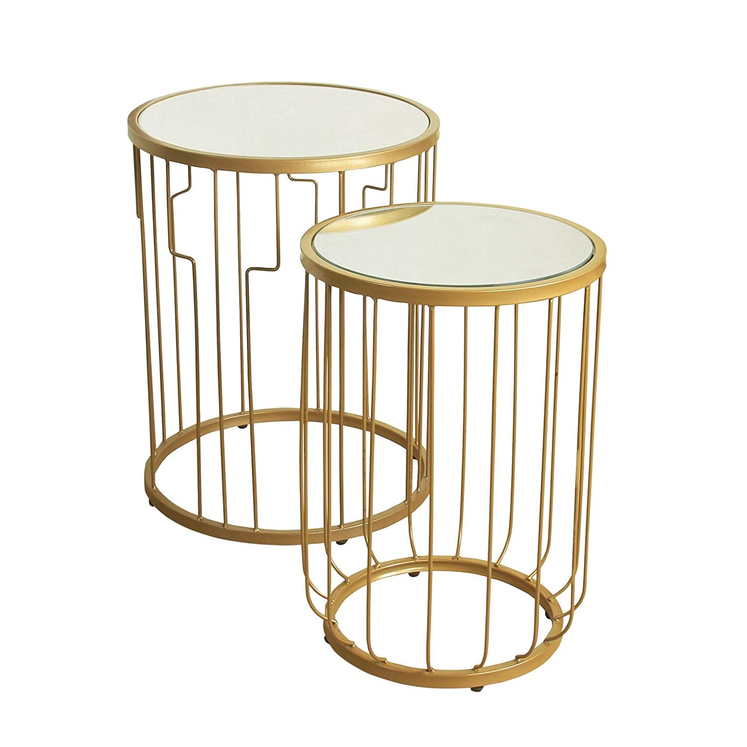 homepop metal accent nesting tables with glass sylvia table top set gold kitchen dining patio coffee white cloth pulaski furniture convertible sofa ashley room martha stewart