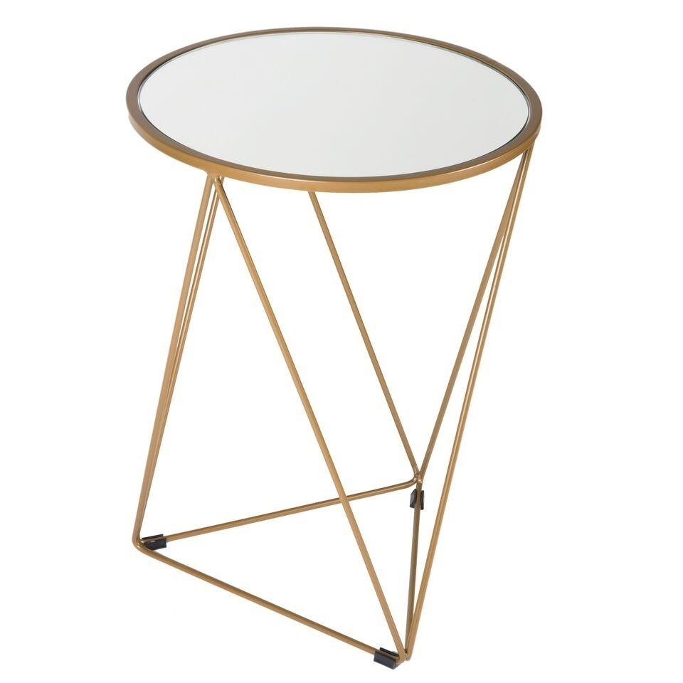 homepop metal accent table triangle gold base round glass top free shipping today centerpiece ideas for home ikea tall threshold transition small antique hall wooden bedside lamps