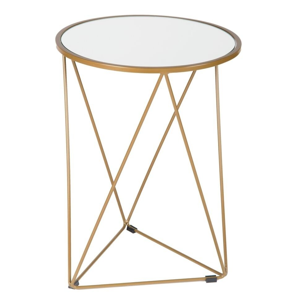 homepop metal accent table triangle gold base round glass top free shipping today cocktail coffee oak sideboard tiffany style chandelier navy blue small white marble whit ash