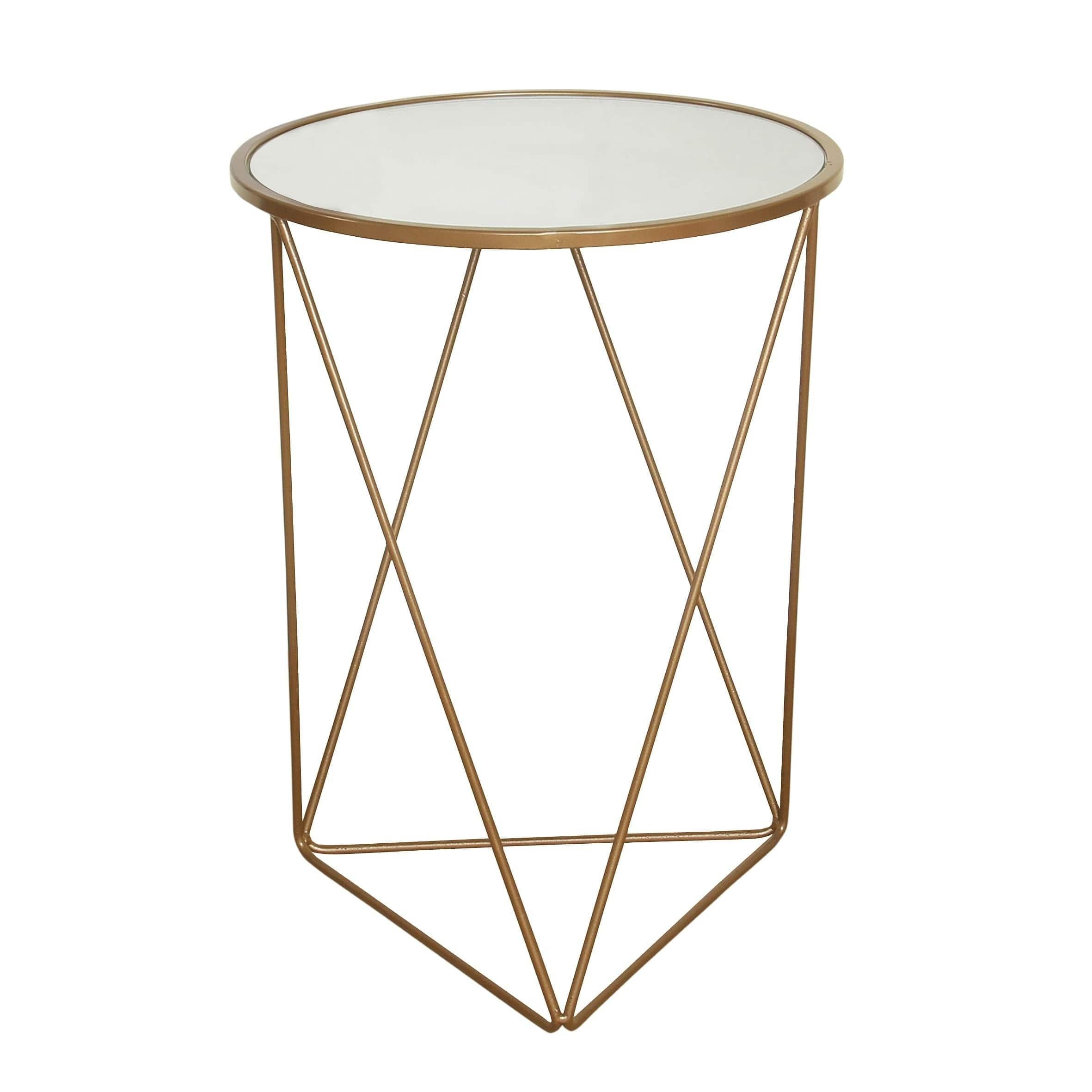 homepop metal accent table triangle gold base round glass top free shipping today concrete dining rustic cube tables ikea cool patio furniture narrow end for living room