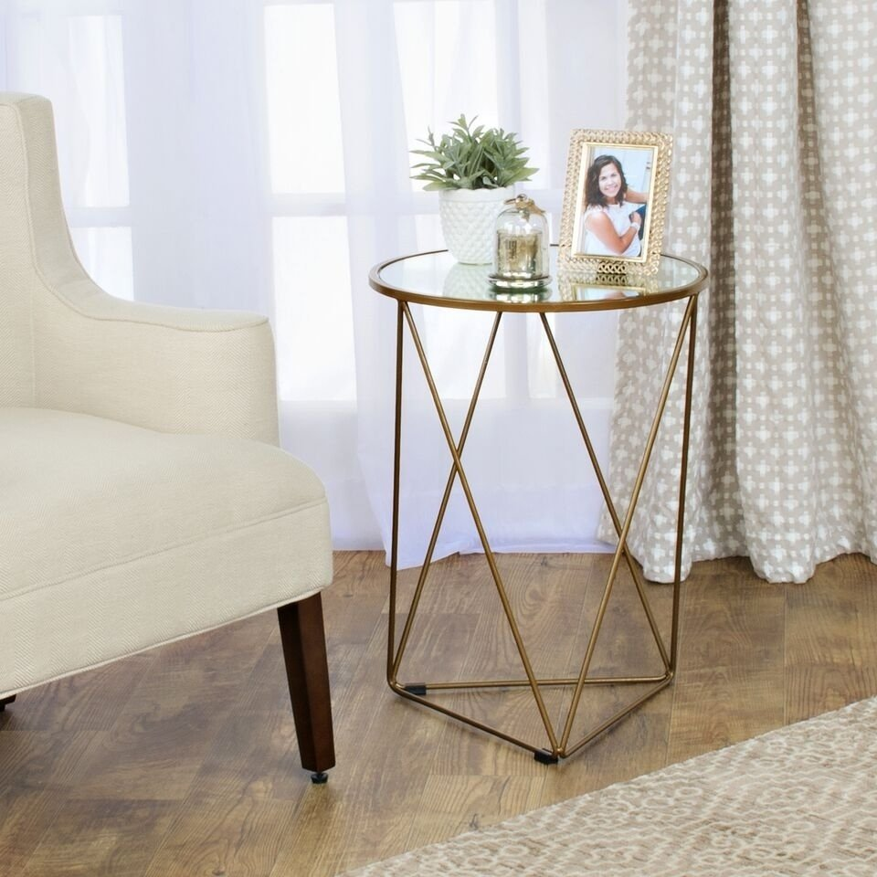 homepop metal accent table triangle gold base round glass top free shipping today kijiji bedroom set walnut side ikea concrete dining ceramic ginger jar lamps sheesham mosaic tile