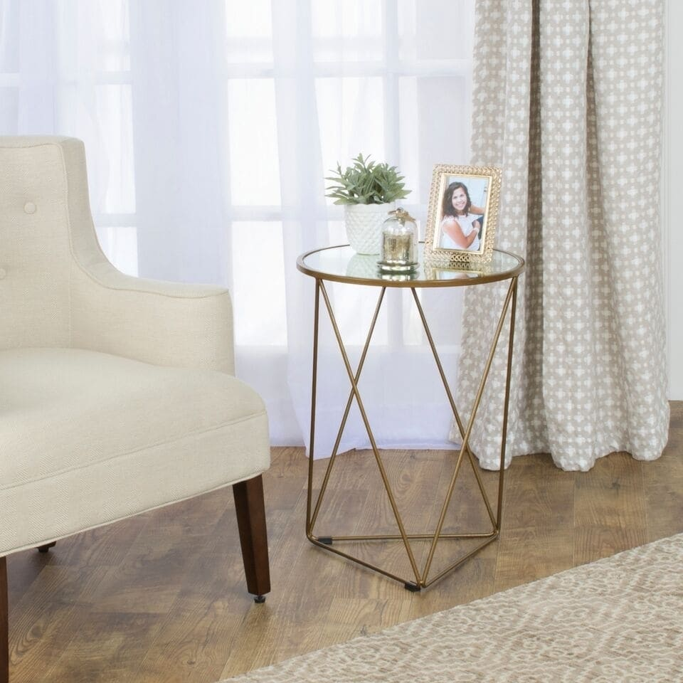 homepop metal accent table triangle gold base round glass top knobs mirage mirrored living room furniture end tables small wood dining and chairs outdoor parasol low bedside chair