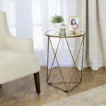 homepop metal accent table triangle gold base round glass top with free shipping today antique mirror coffee inch nightstand espresso tables and seater chairs reclaimed wood end 150x150