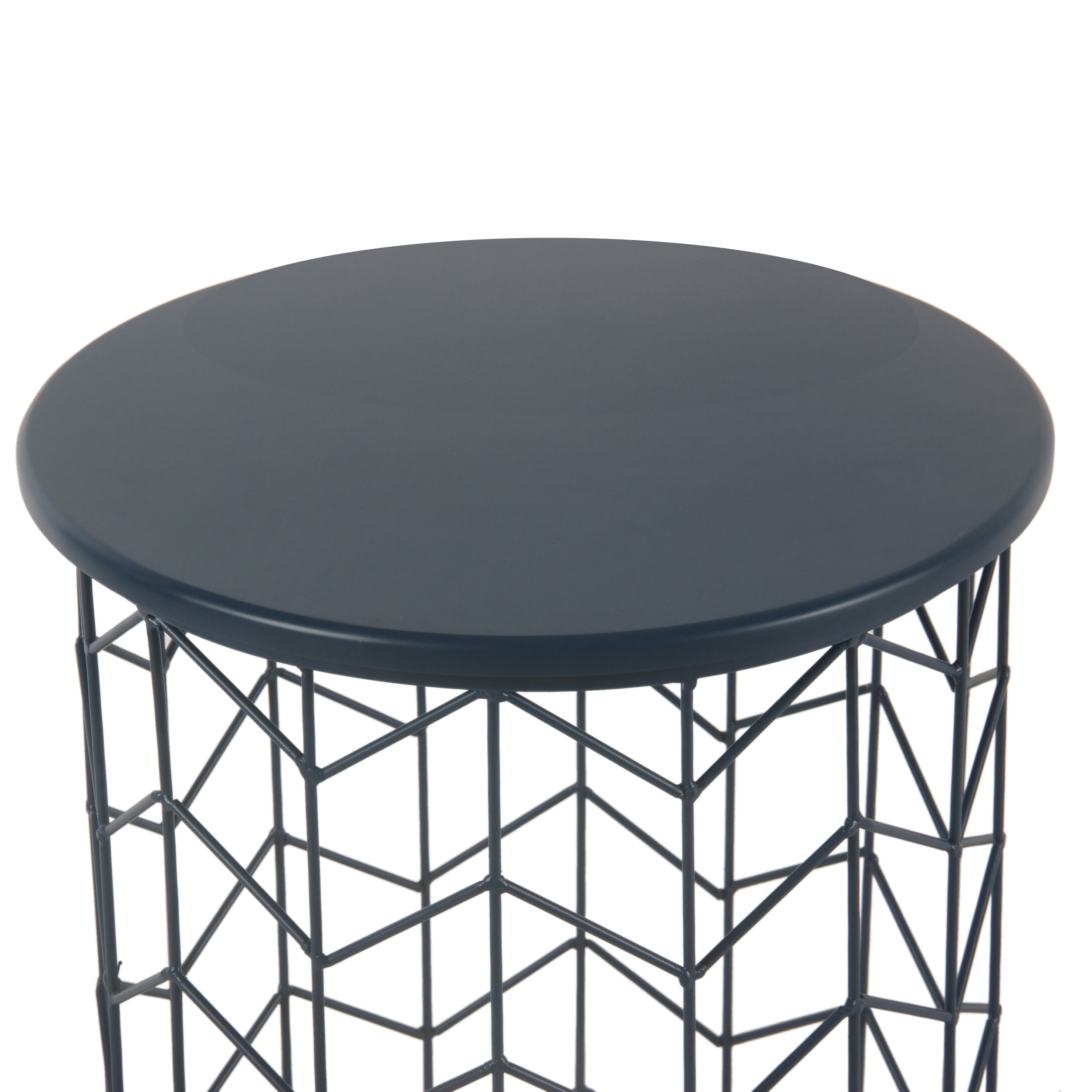 homepop modern blue metal accent table threshold transition tall round bar and chairs small couch end tables walnut side ikea dark grey pottery barn bedside storage cabinets
