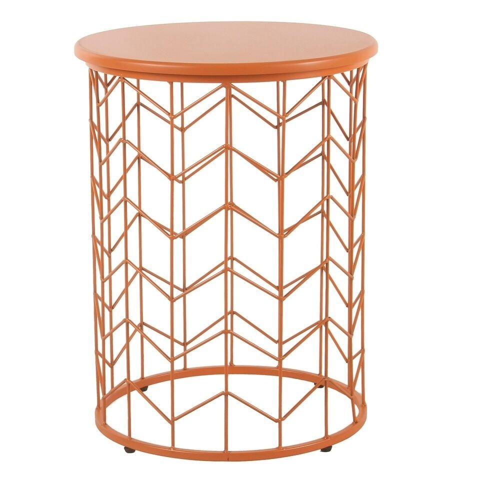 homepop modern orange metal accent table free shipping today small antique hall ikea tall cube tables rustic round walnut side couch decor bar and chairs black office desk kijiji