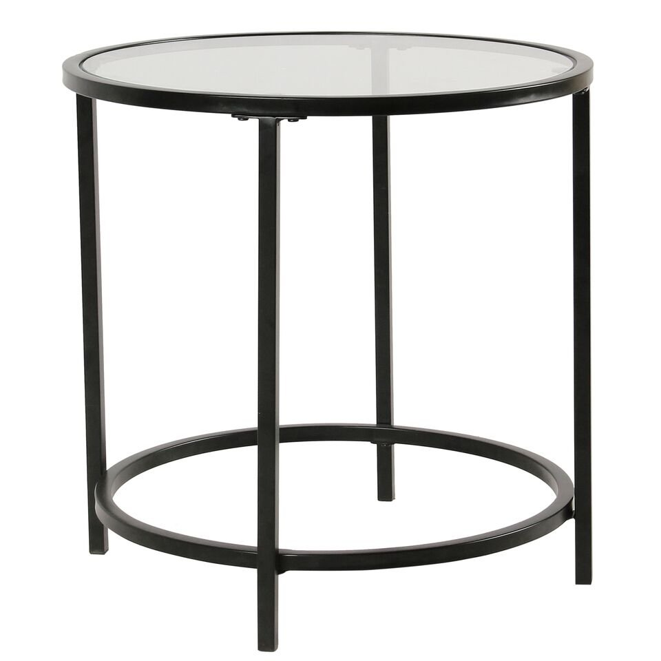 homepop round metal accent table with glass top black free shipping today natural wood bedside grohe europlus matching night stands mosaic coffee industrial modern chaise iron