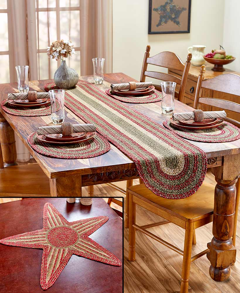 homestead braided table runner centerpiece set placemats accent placemat give your living space some farmhouse appeal with these accents the durable jute construction allows for