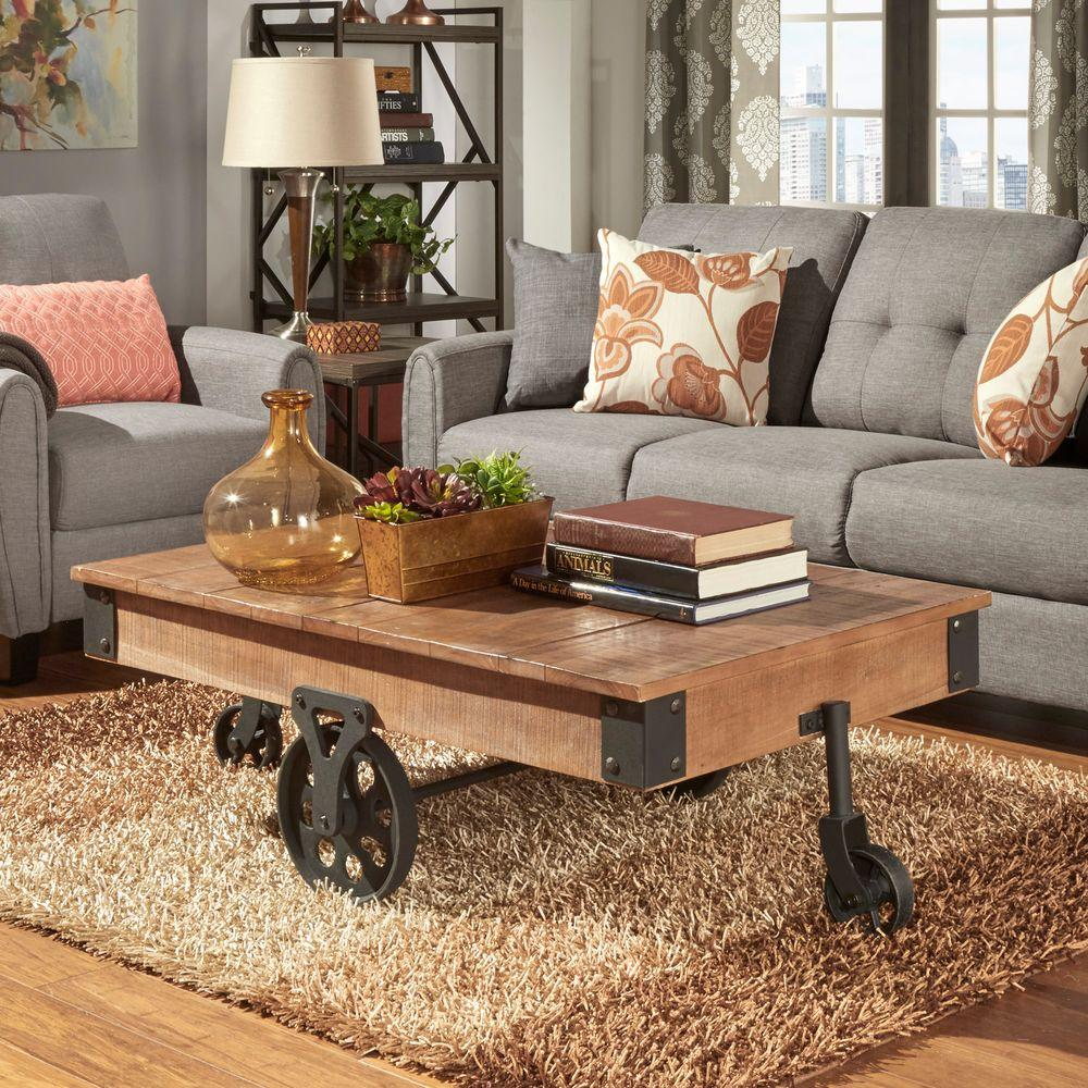 homesullivan grove place distressed mobile coffee table vintage pine tables accent with wheels small half moon console delta faucets wipeable tablecloth round cloth decor