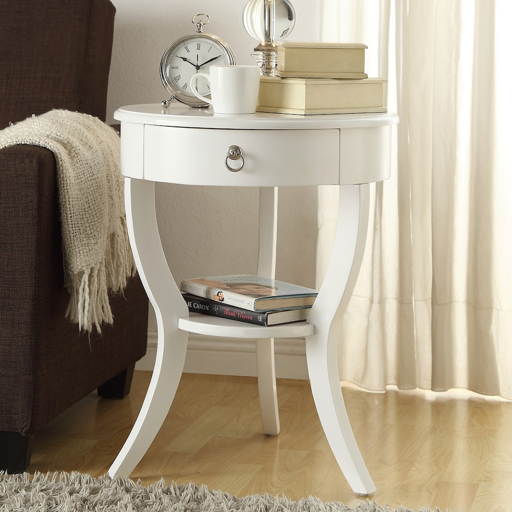 homevance northbrook accent table white janika mirrored side pedestal tiffany look alike lamps small wrought iron faux marble bedside pier one dining bench target planters modern