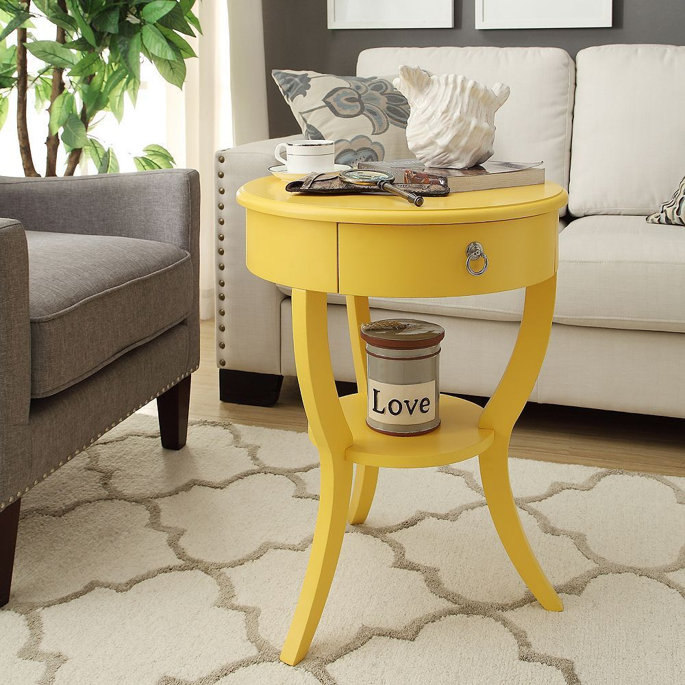 homevance northbrook round end table products yellow accent target red tablecloth pink lamp gold side with marble top square coffee tiered metal narrow outdoor uttermost tables