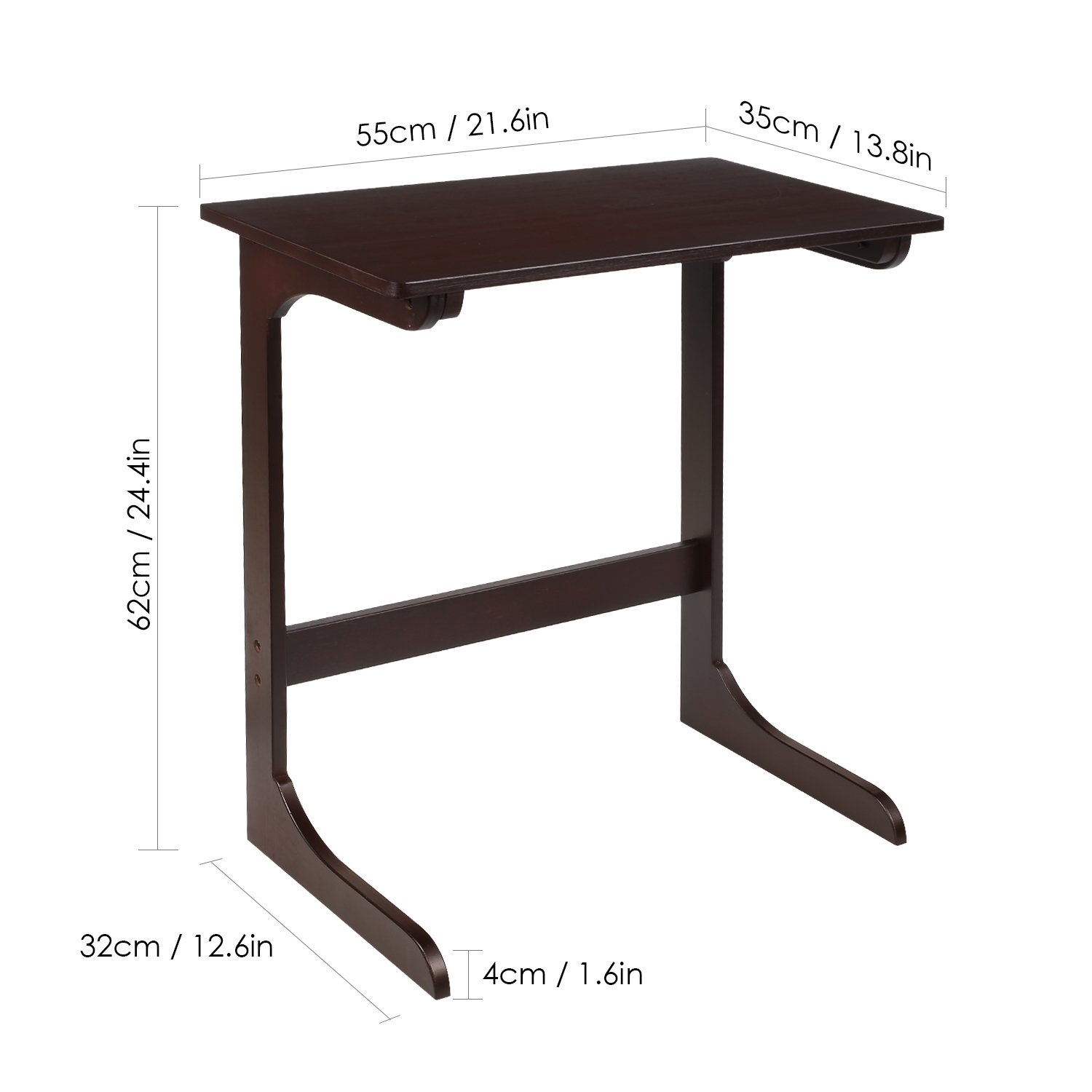 homfa bamboo snack table sofa couch coffee end accent side laptop desk modern furniture for home office retro color kitchen dining pier one chair covers round glass top metal