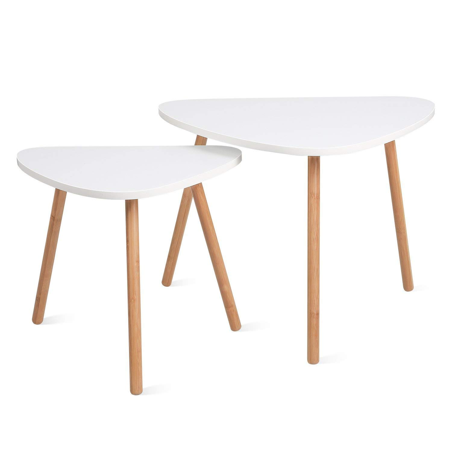 homfa nesting coffee end tables modern decor side table accent under for home and office white set kitchen dining tiffany style lamp with lighted base round telephone back couch