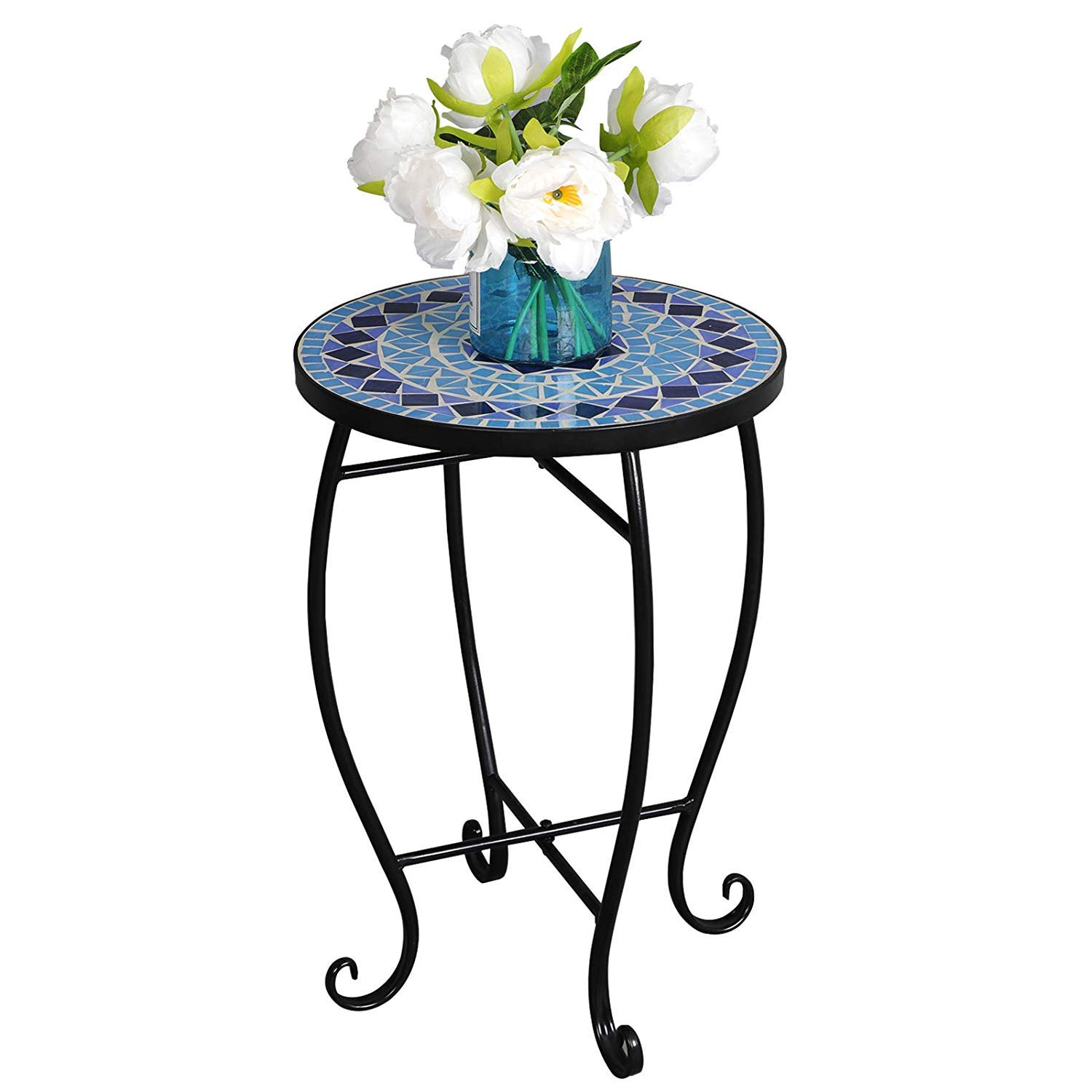 homgarden mosaic round side table plant stand floor metal garden accent flower pots rack planter holder porch balcony patio tablejust decor ashley furniture dining room sets