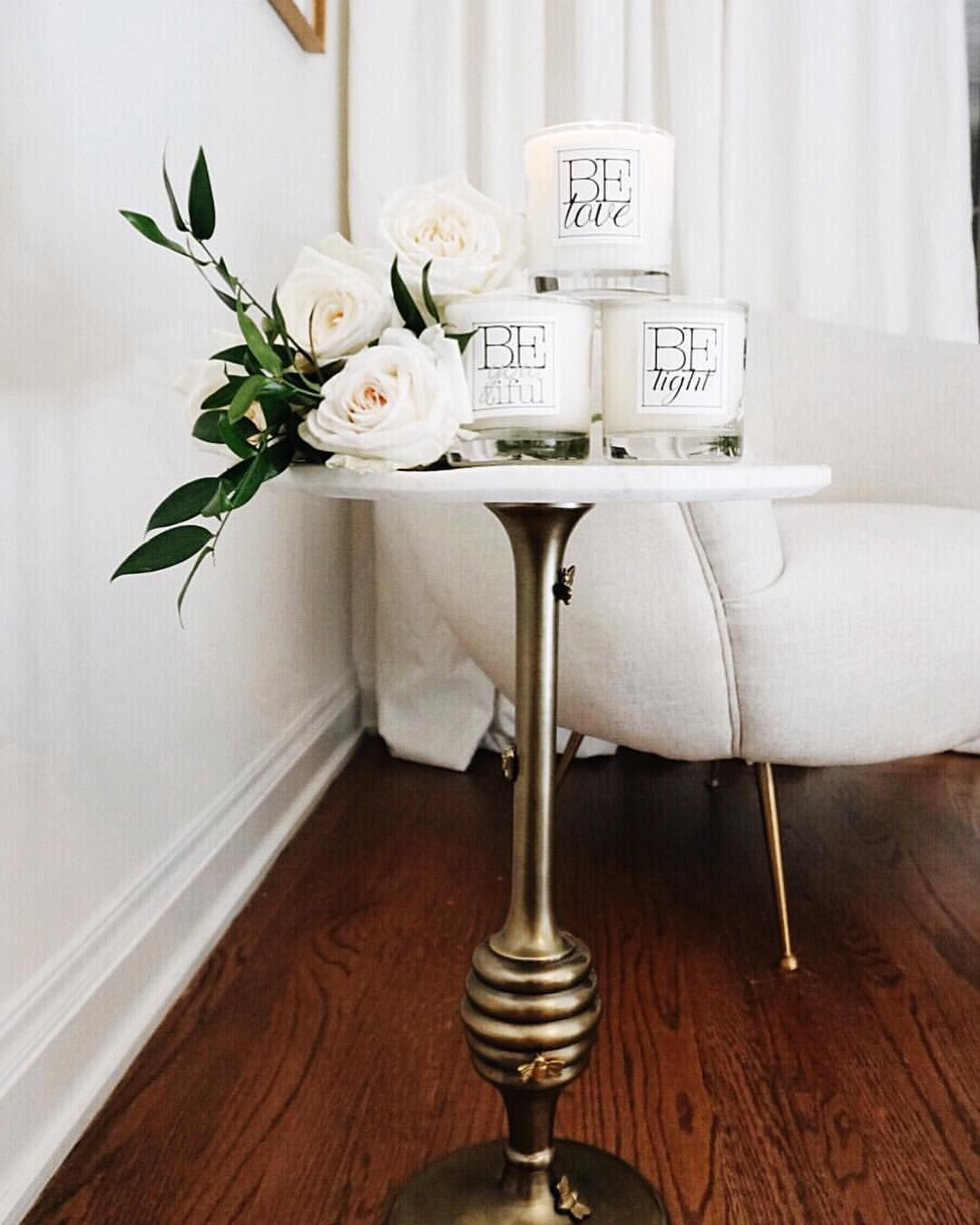 honey hive bumble marble and gold accent table anthropologie white corner garden roses light love beyoutiful candles interior design home decor parisian chic dreamy glam entryway