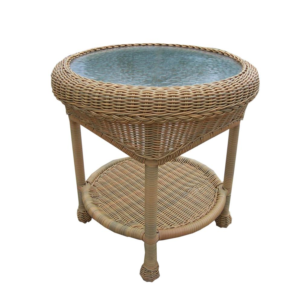 honey wicker outdoor side table the tables brown internet teak furniture vancouver vanity unit with basin luxury living room pottery barn front porch seating pier dining antique