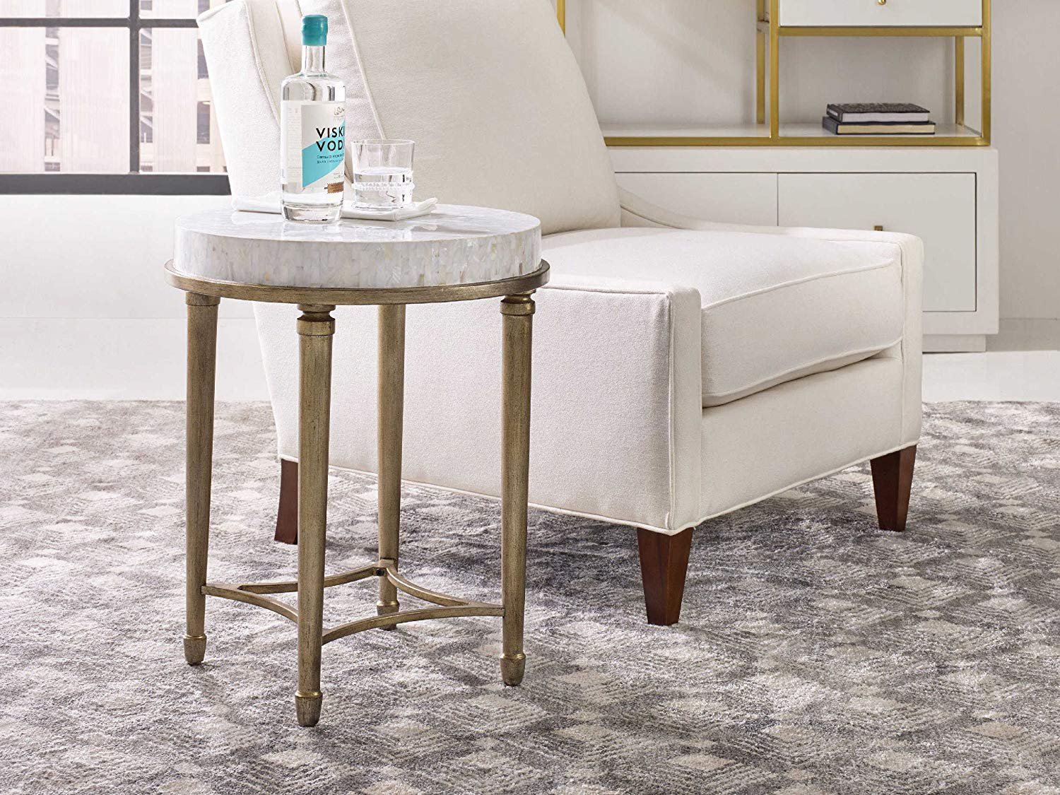 hooker furniture cynthia rowley aura round shell top accent table with power end kitchen dining cherry corner room essentials patio ashley nesting tables grey metal coffee pottery