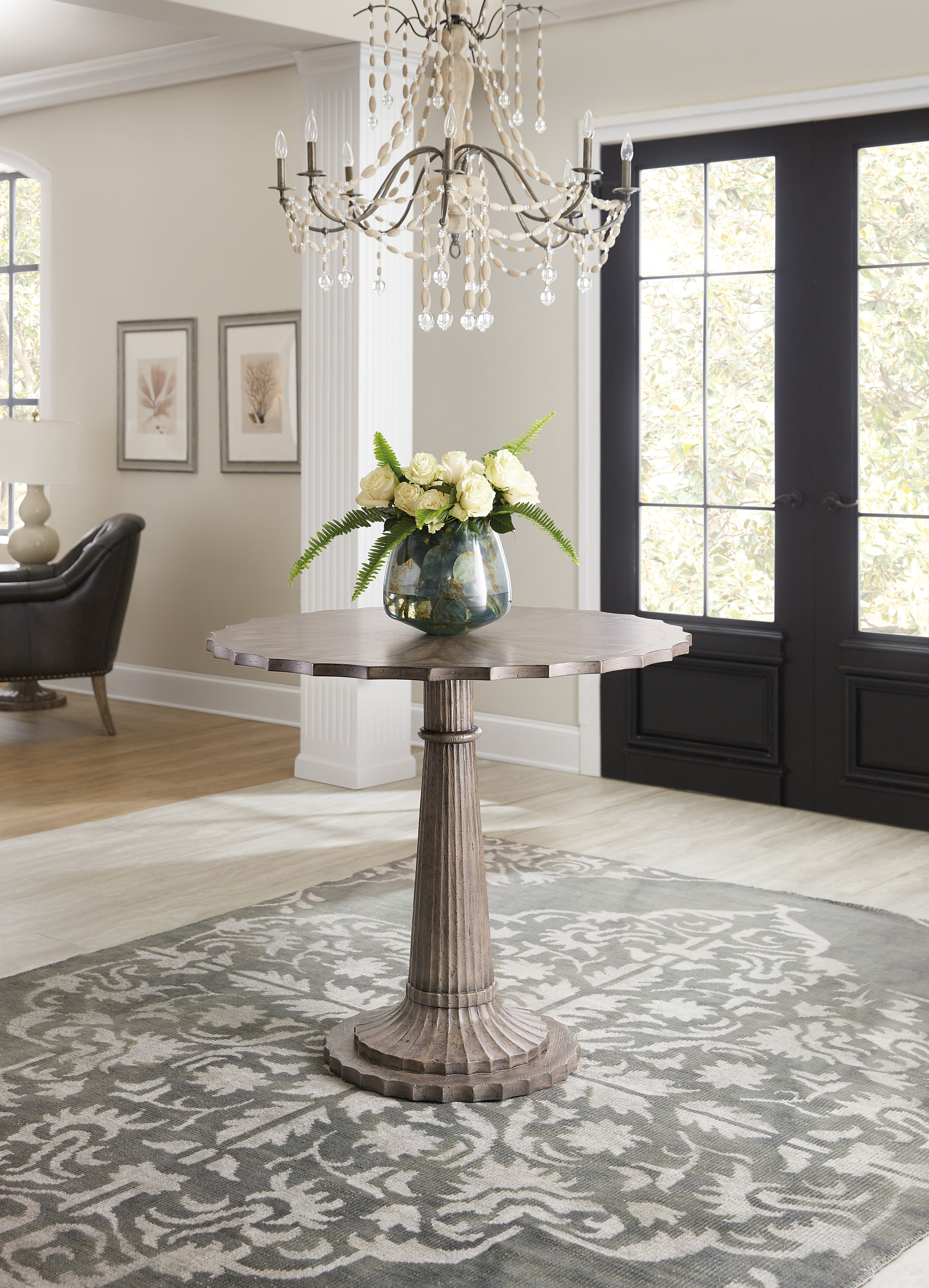 hooker furniture dining room woodlands foyer accent table whole outdoor living design bunnings garden threshold between carpet and tile concrete slab small round glass mirrored