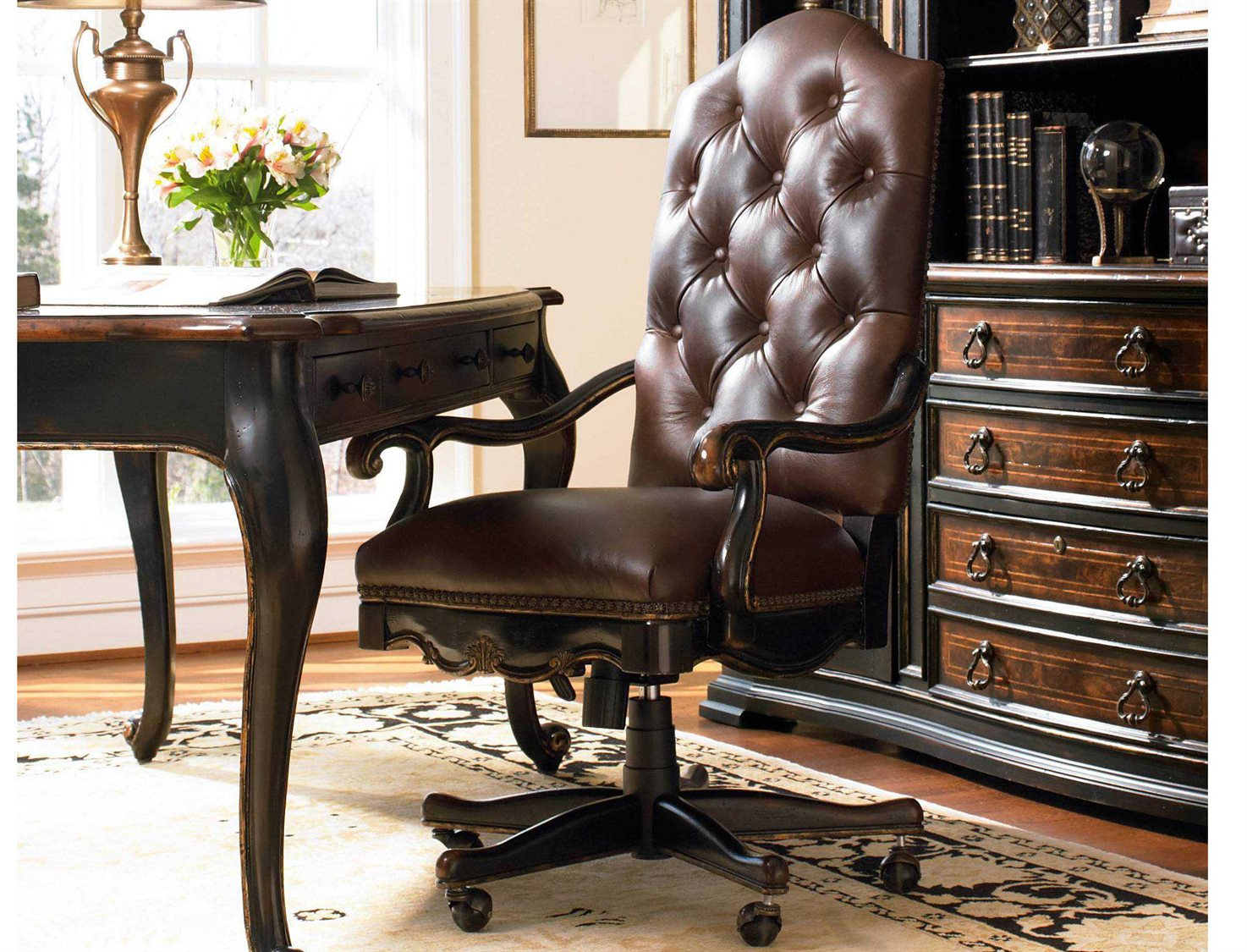 hooker furniture grandover black with gold accent executive swivel dining table chair inch pine end tables rattan coffee antique winsome wood inexpensive living room ideas