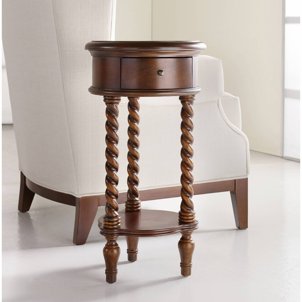 hooker furniture inlay top round accent table with drawer hover zoom white marble knotty pine dining gold lamp antique target desk shades three legged best drum throne under