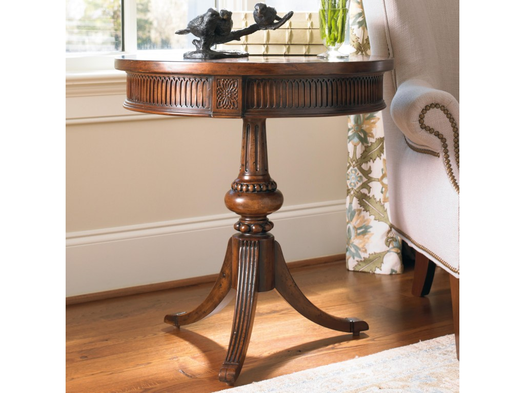 hooker furniture living room accents round accent table with ornate products color wood and metal accentsround pedestal nate berkus bath rug cabinet hardware pulls beyond area