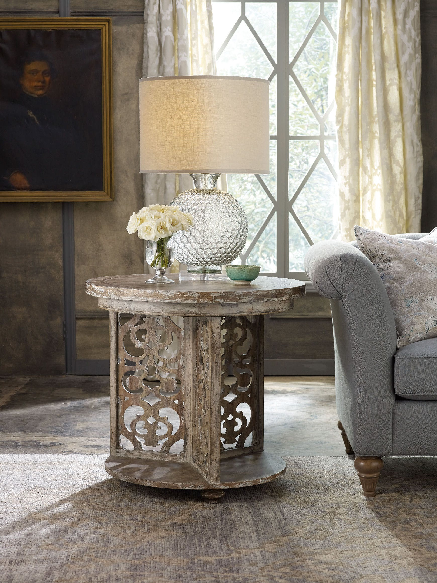 hooker furniture living room chatelet round accent table sets very small side marble top wood coffee tiffany tree lamp end set home office edmonton narrow tables for and gold