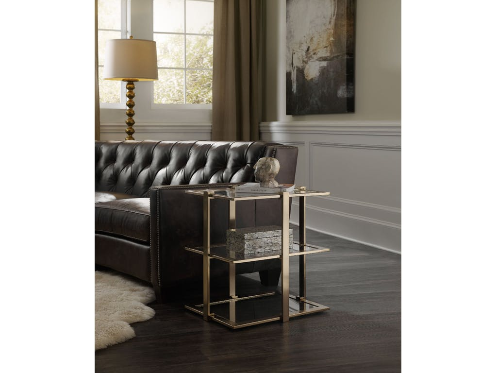 hooker furniture living room highland park rectangle accent table bedroom bench target black acrylic side concrete green tiffany lamp shade west elm console dining with stools