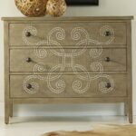 hooker furniture melange three drawer curlacue occasional accent products color painted tables chests chest with decorative raffia paint accents teal blue table distressed white 150x150