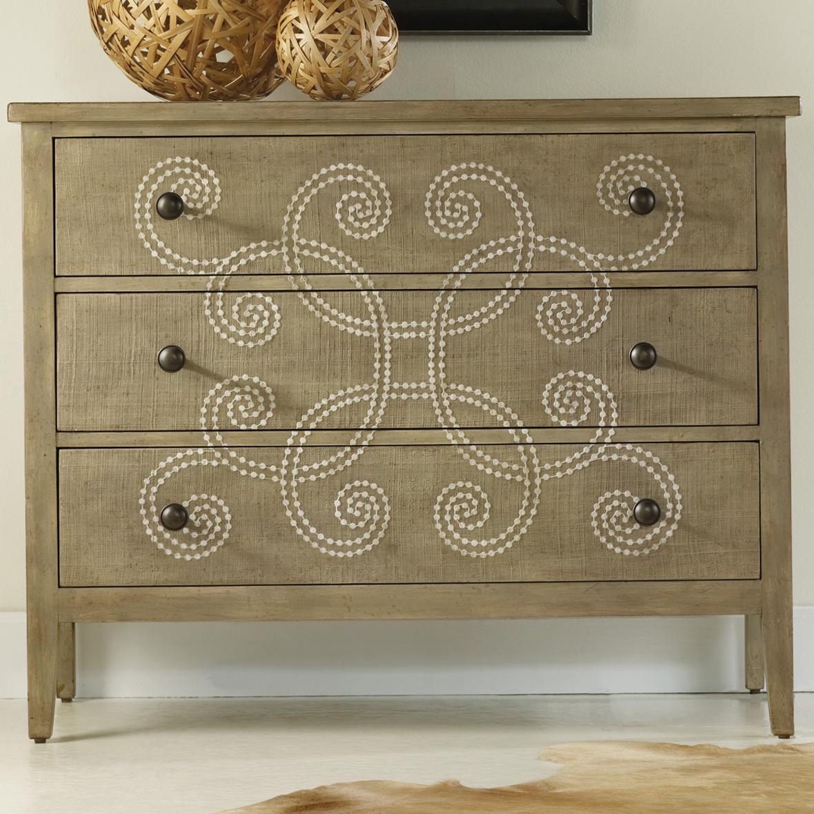 hooker furniture melange three drawer curlacue occasional accent products color painted tables chests chest with decorative raffia paint accents teal blue table distressed white