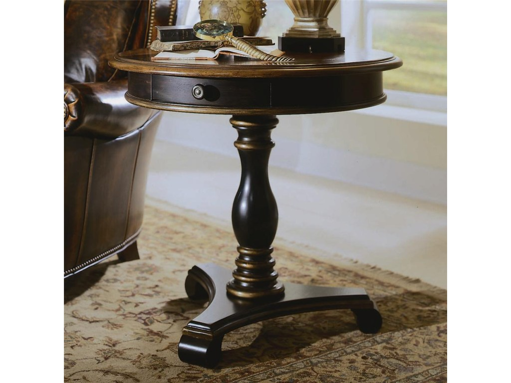 hooker furniture preston ridge round pedestal accent table products color raw wood black ginger jar lamp brass hairpin legs white cabinet with glass doors tables end ikea kids