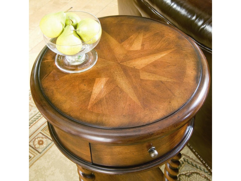 hooker furniture seven seas inlay top round accent table products color raw wood seasround coastal theme bedroom small corner for entryway trestle with leaves patio seat covers