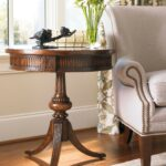 hooker medium wood round pedestal accent table collection pier imports catalog sofa with stools rose gold home accessories white end set small coffee and chairs tables charging 150x150
