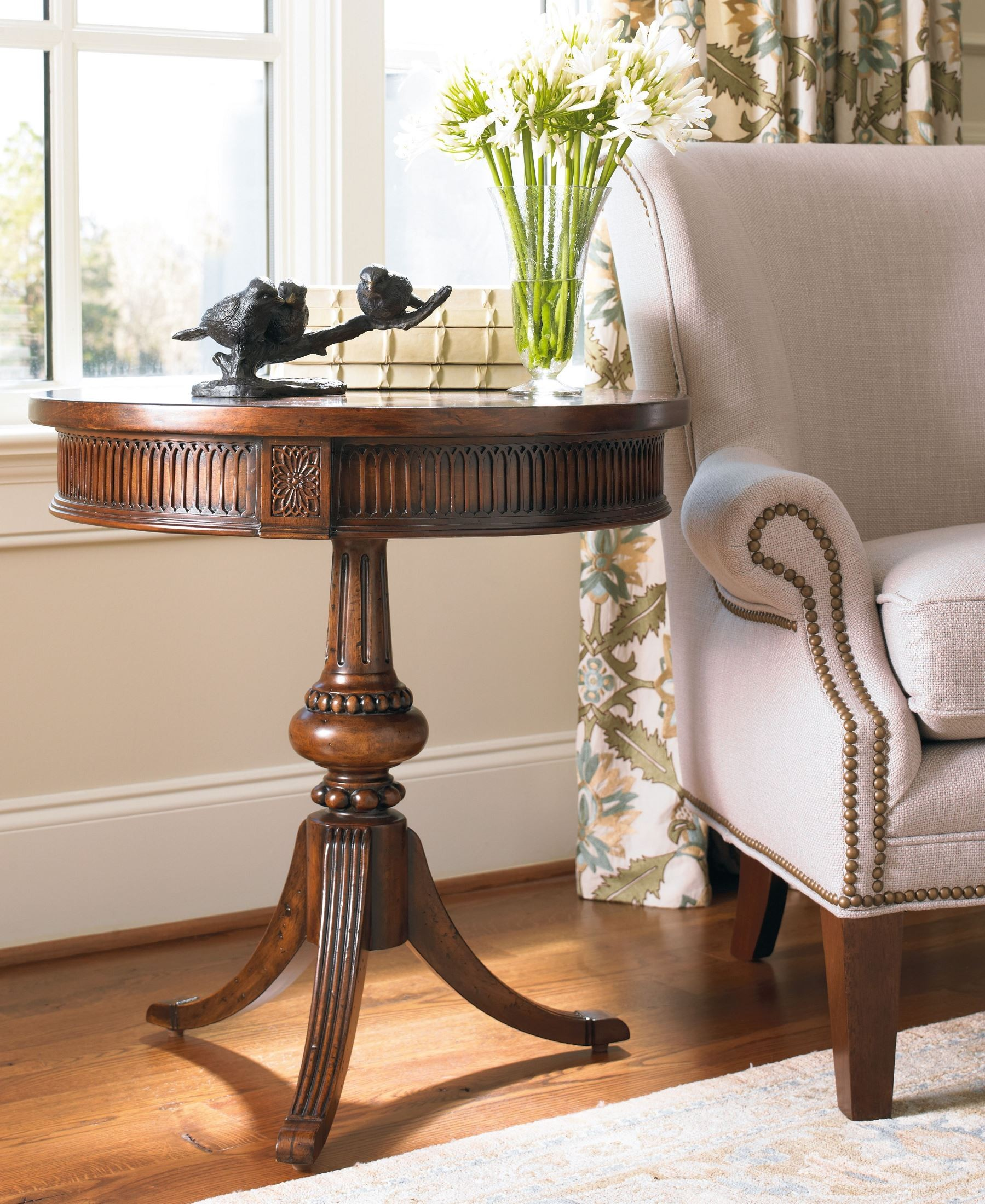 hooker medium wood round pedestal accent table collection pier one coupons printable office depot furniture patio cushions throne for drums target turquoise lamp swing cover small