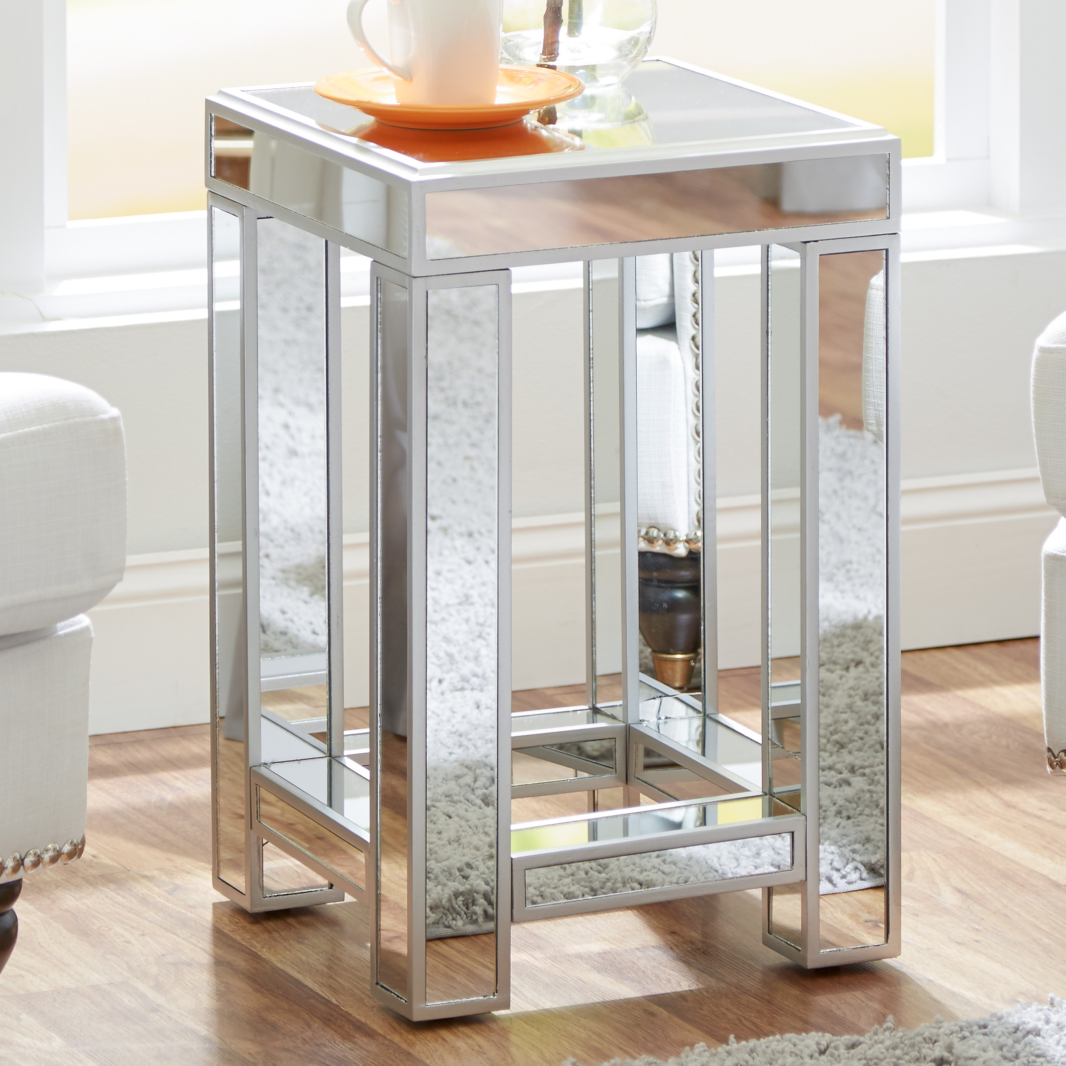 hotxpress nightstand pascual coffee table bedside mirrored side end with drawer pedestal lucite cocktai inch furniture tables mirror nightstands wide black tall wooden accent