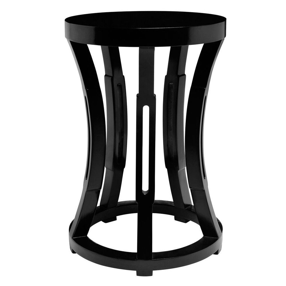 hourglass stool side table black lacquer products accent tall thin console ashley furniture counter height dining with drawers ikea leick laurent end bulk linens windham threshold