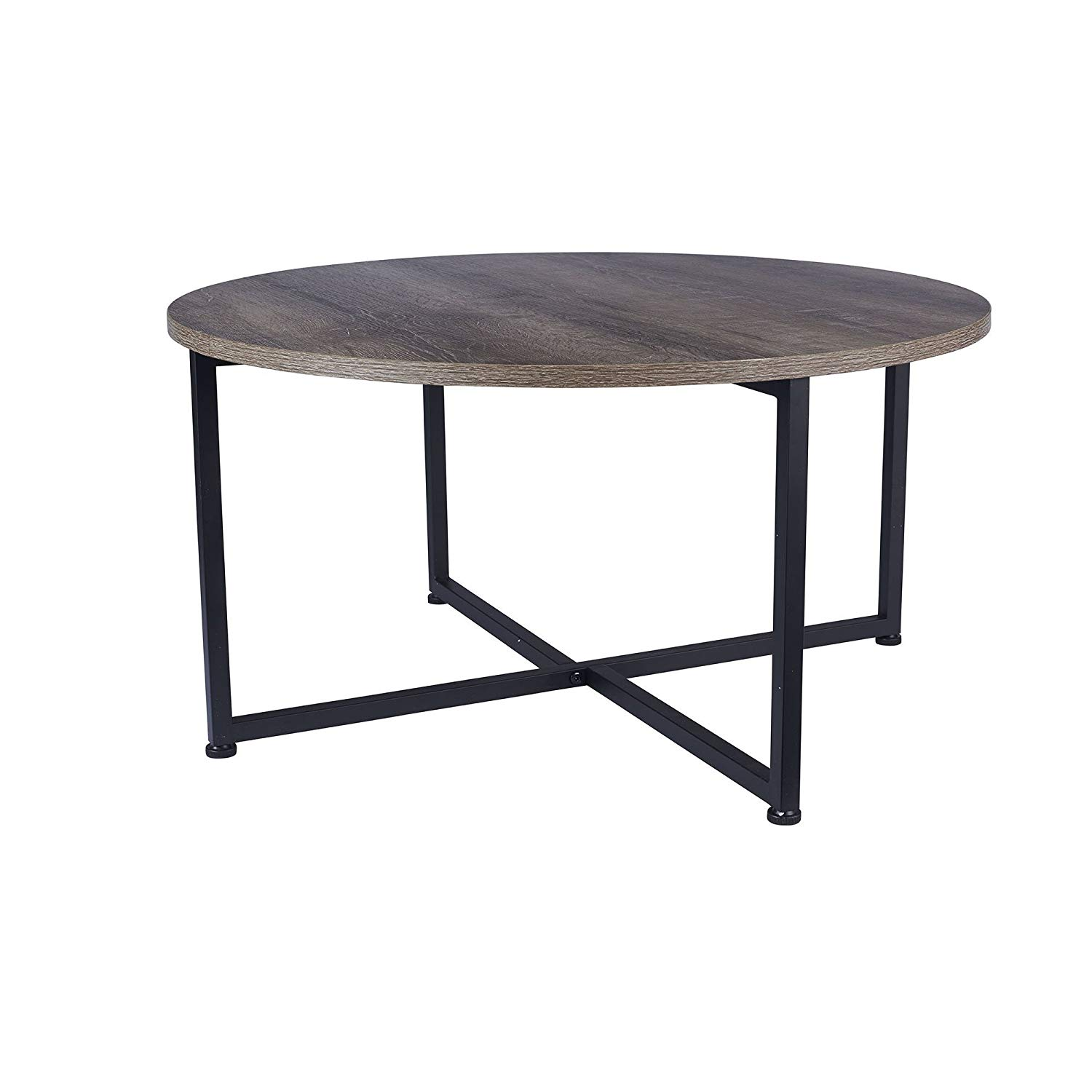 household essentials ashwood round coffee table low accent distressed gray brown black metal frame kitchen dining turquoise console ikea wall storage room chairs with leaf modern
