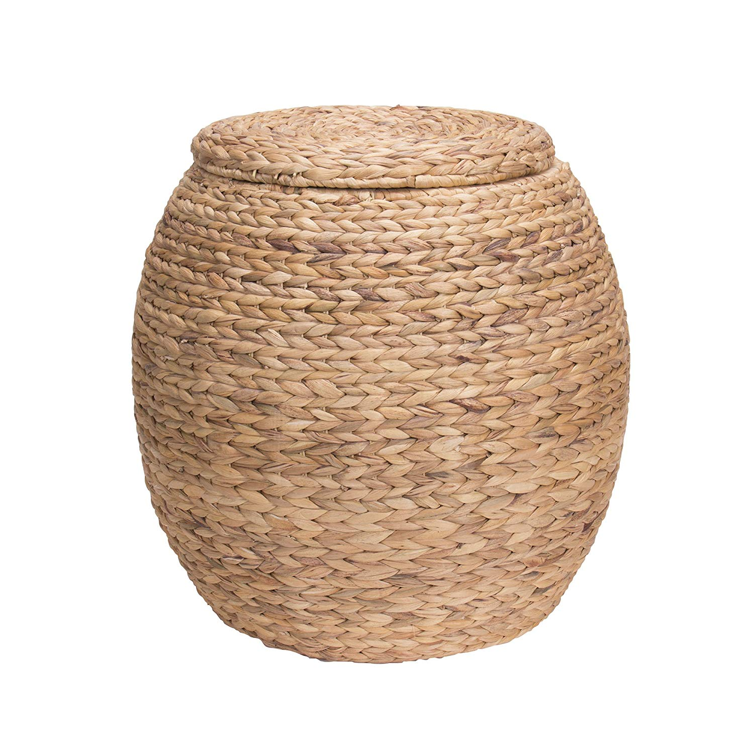 household essentials large round wicker storage accent table basket side with lid water hyacinth home kitchen steel coffee unfinished wood dining slim garden furniture mini high