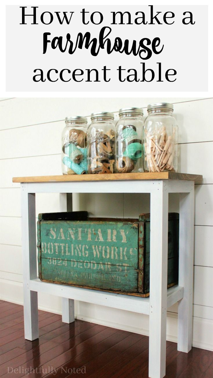 how build farmhouse accent table diy projects and craft ideas rustic easy perfect piece furniture for narrow spaces like powder room small entryway cordless led lamp storage chest
