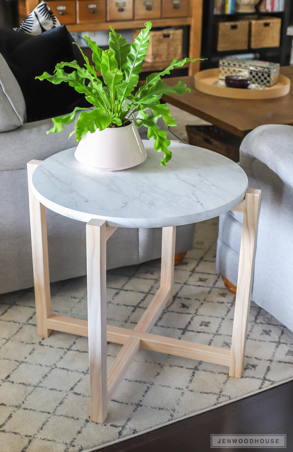 how build round faux marble side table diy pottery barn flower accent nautical themed end tables linen company decorative tablecloth glass bedroom ashley furniture nesting mission