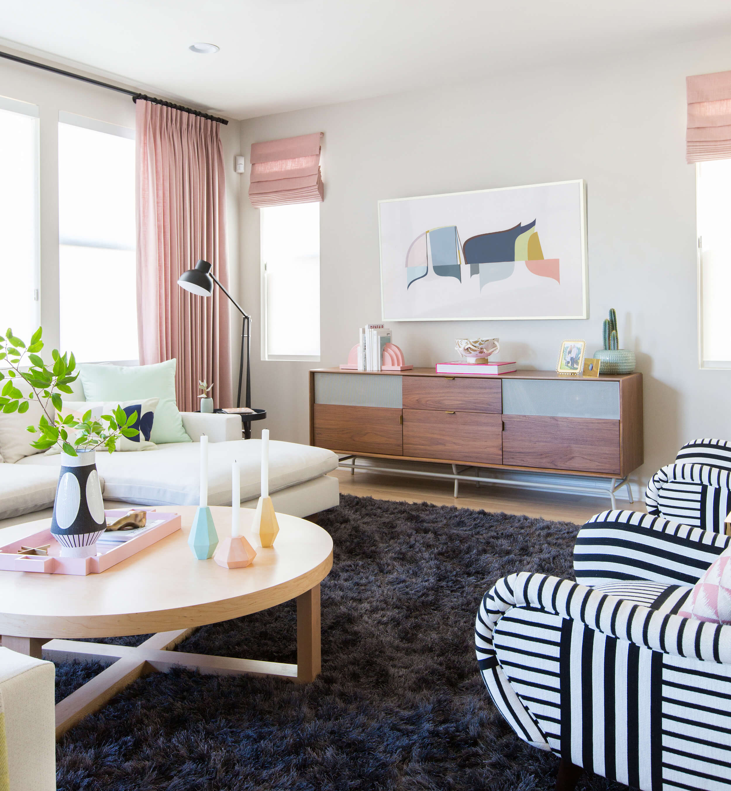 how coffee table for every space emily henderson design milk modern pink black and white jaimie derringer living room reveal with frame cropped accent snack glass top accents mid