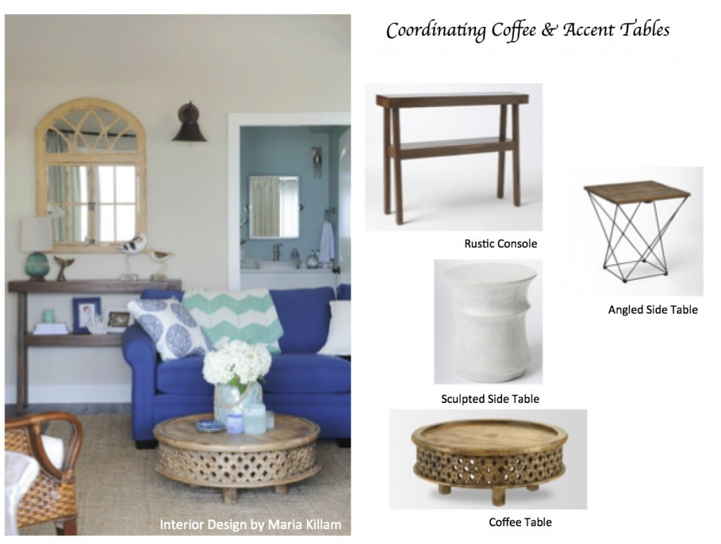 how coordinate coffee accent tables like designer maria blue living room pottery barn rustic pedestal table killam carpet bar marble kitchen round metal legs drop leaf with chairs