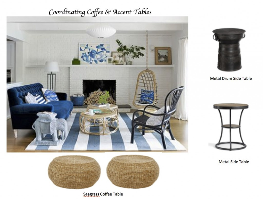 how coordinate coffee accent tables like designer maria blue living small room killam cordless lamps pottery barn long counter height table white round outdoor mosaic outside
