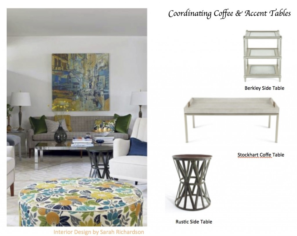 how coordinate coffee accent tables like designer maria sarah richardson rustic end table with lamp killam flat top stove natural edge wood making argos butterfly concrete glass