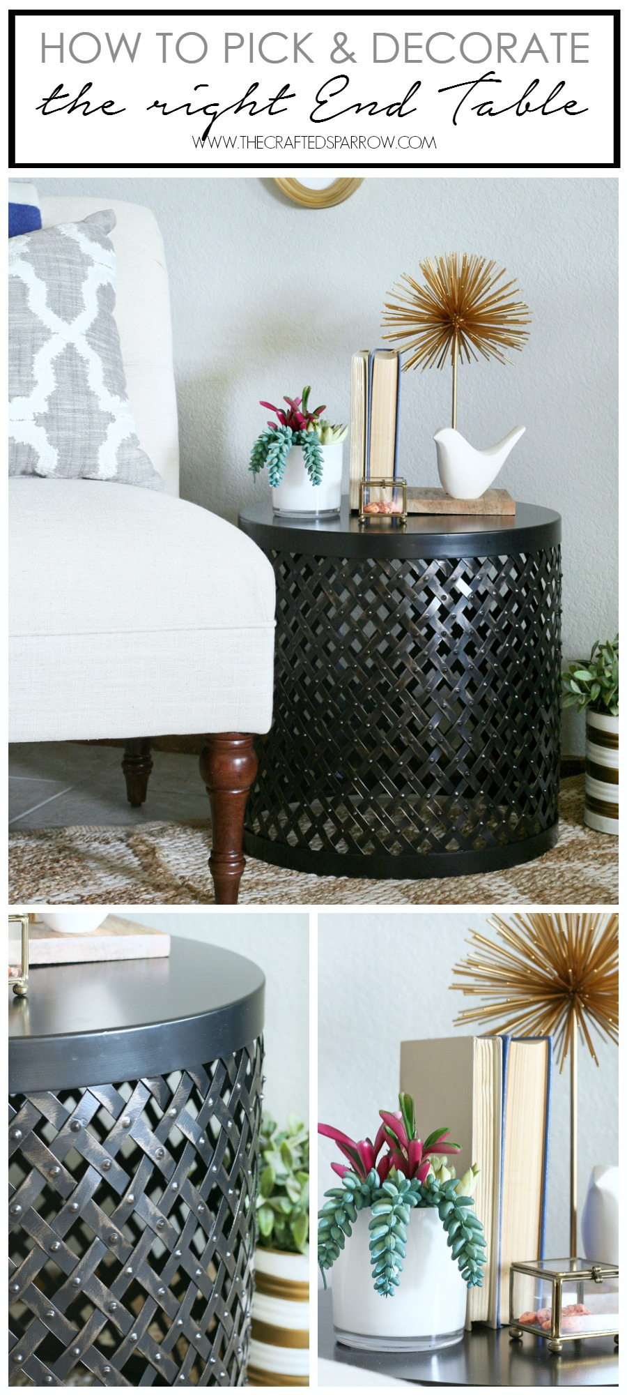 how decorate the right end table target threshold accent gold dark brown rattan coffee aluminum lawn chairs cabinet storage office computer desk high round tall tables woven metal